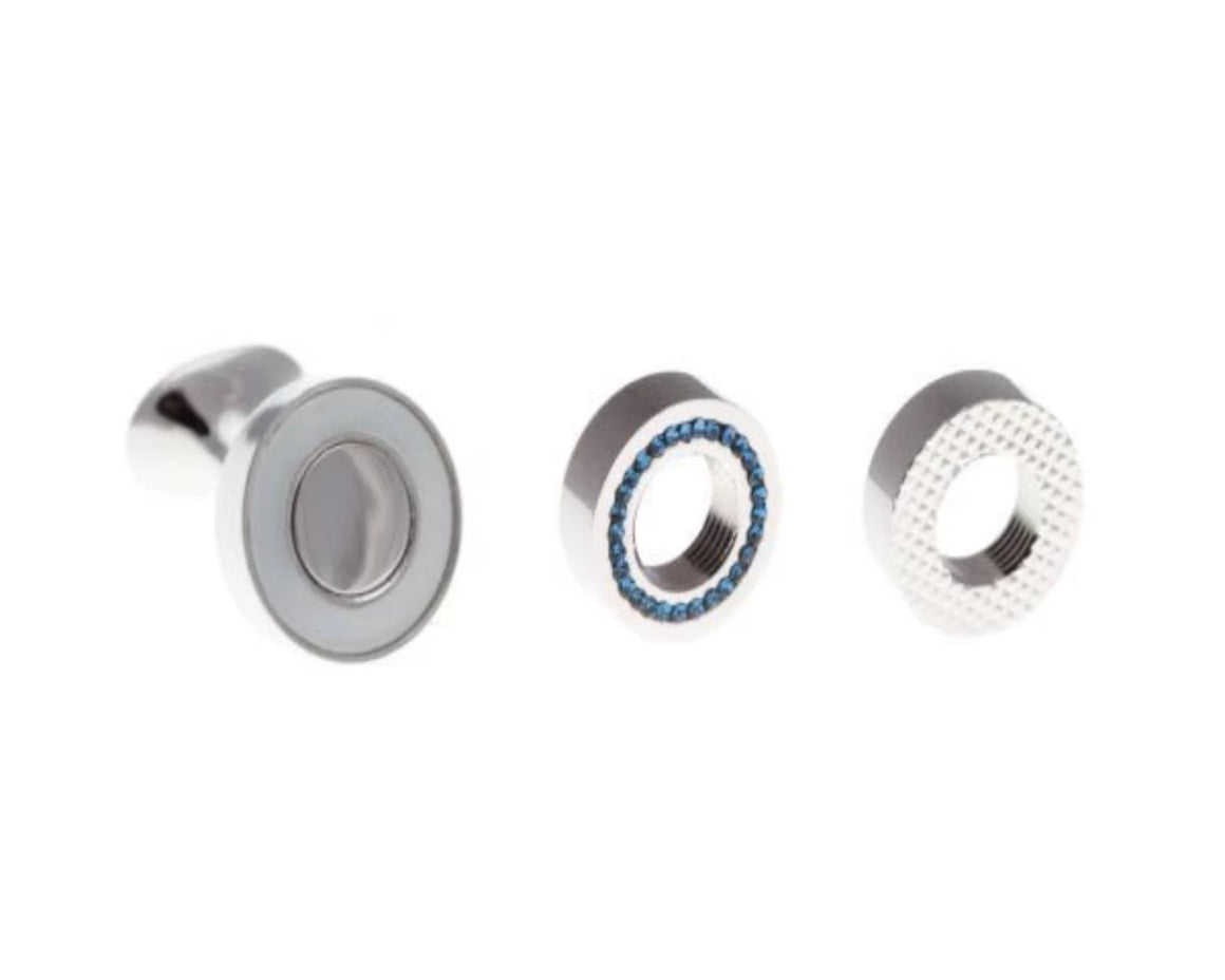 Interchangeable Plain Metal Cufflinks (White, Blue Crystal and Textured Finish)