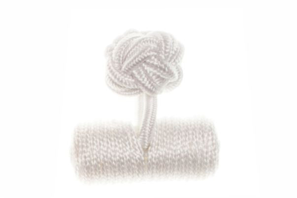 Plain White Barrel Cuffknots Silk Knot Cufflinks - by Elizabeth Parker England
