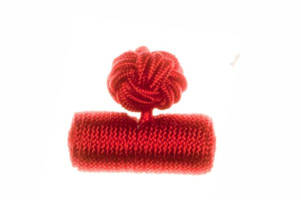 Plain Ruby Red Barrel Cuffknots Silk Knot Cufflinks - by Elizabeth Parker England