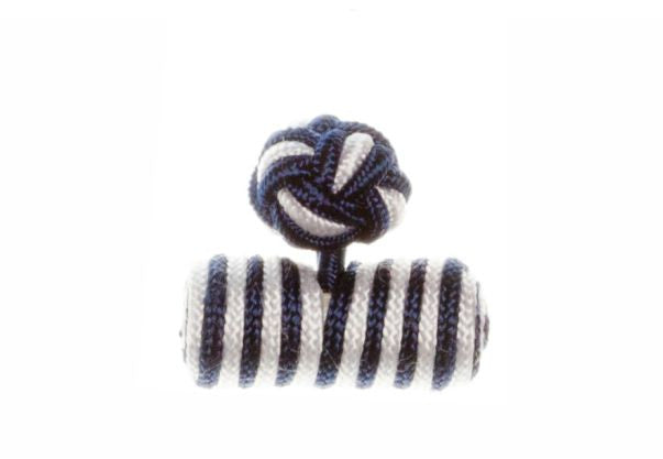 Navy Blue & White Barrel Cuffknots Silk Knot Cufflinks - by Elizabeth Parker England