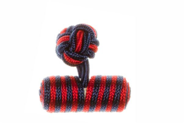 Navy Blue & Ruby Red Barrel Cuffknots Silk Knot Cufflinks - by Elizabeth Parker England