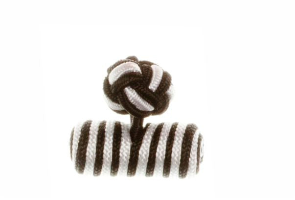 Black & White Barrel Cuffknots Silk Knot Cufflinks - by Elizabeth Parker England