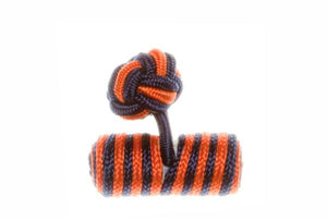 Navy Blue & Orange Barrel Cuffknots Knot Cufflinks - by Elizabeth Parker England