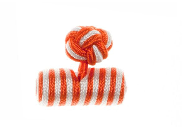 Orange & White Barrel Cuffknots Knot Cufflinks - by Elizabeth Parker England