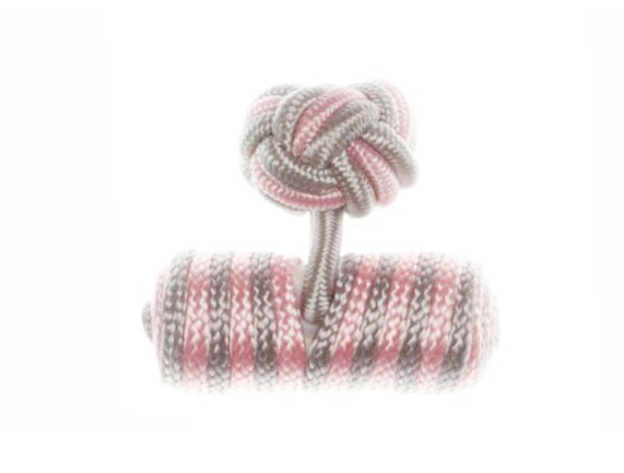 Light Grey & Light Pink Barrel Cuffknots Silk Knot Cufflinks - by Elizabeth Parker England