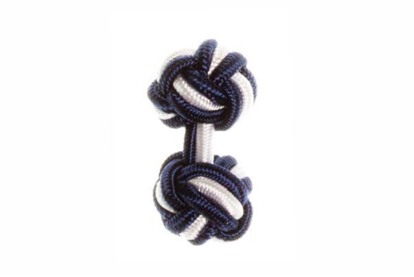 Navy Blue & White Cuffknots Knot Cufflinks - by Elizabeth Parker England