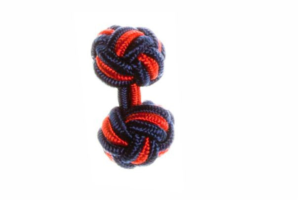 Navy Blue & Red Cuffknots Silk Knot Cufflinks - by Elizabeth Parker England