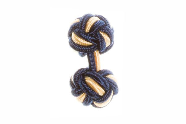 Navy Blue & Yellow Cuffknots Knot Cufflinks - by Elizabeth Parker England