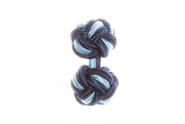 Navy Blue & Light Blue Cuffknots Silk Knot Cufflinks - by Elizabeth Parker England