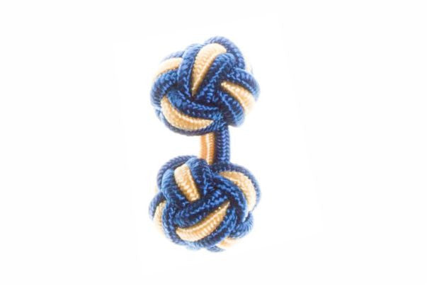 Royal Blue & Yellow Cuffknots Silk Knot Cufflinks - by Elizabeth Parker England