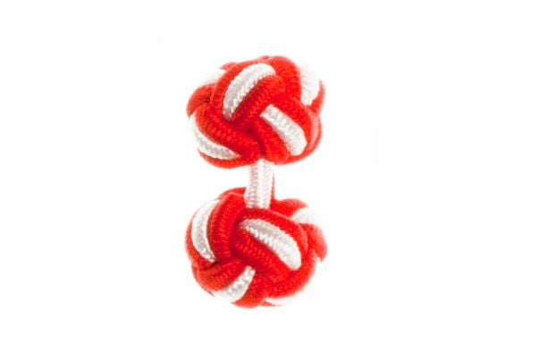 Red & White Cuffknots Silk Knot Cufflinks - by Elizabeth Parker England