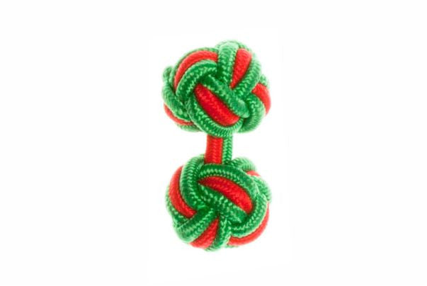 Green & Red Cuffknots Silk Knot Cufflinks - by Elizabeth Parker England