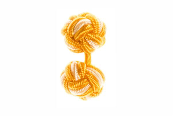 Gold & Yellow Cuffknots Silk Knot Cufflinks - by Elizabeth Parker England