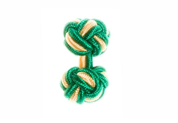 Green & Yellow Cuffknots Silk Knot Cufflinks - by Elizabeth Parker England