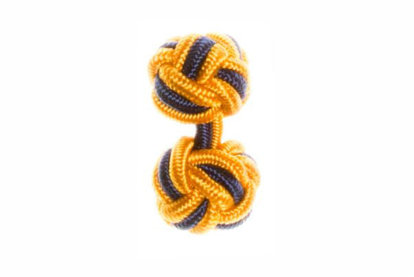 Gold & Navy Blue Cuffknots Knot Cufflinks - by Elizabeth Parker England