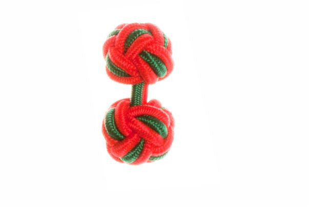 Red & Green Cuffknots Silk Knot Cufflinks - by Elizabeth Parker England