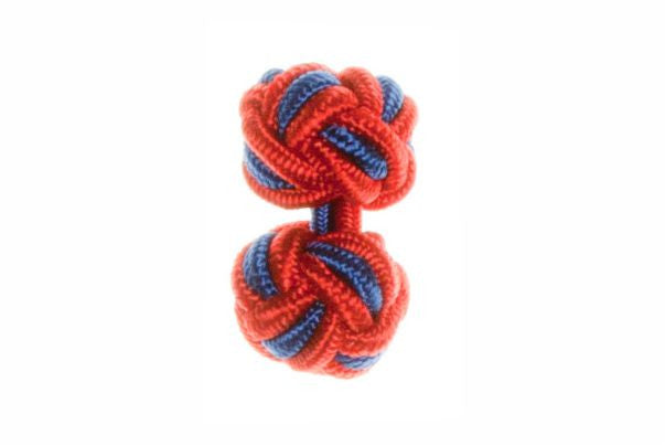 Red & Royal Blue Cuffknots Silk Knot Cufflinks - by Elizabeth Parker England