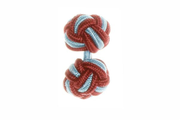 Claret Deep Red & Light Blue Cuffknots Silk Knot Cufflinks - by Elizabeth Parker England