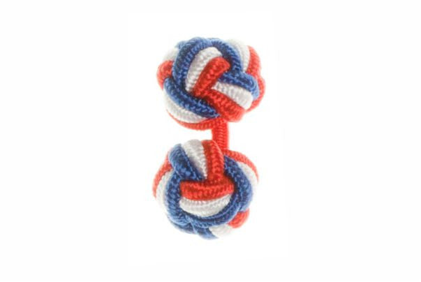 Red White Royal Blue Cuffknots Silk Knot Cufflinks - by Elizabeth Parker England