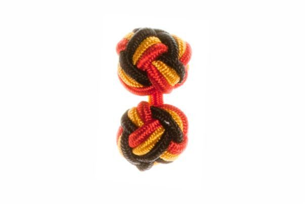 Red & Black & Gold Cuffknots Knot Cufflinks - by Elizabeth Parker England