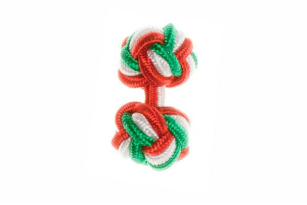 Red & White & Green Cuffknots Silk Knot Cufflinks - by Elizabeth Parker England