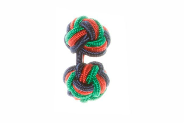 Navy Blue & Green & Red Cuffknots Silk Knot Cufflinks - by Elizabeth Parker England