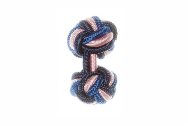 Navy Blue & Royal Blue & Pink Cuffknots Silk Knot Cufflinks - by Elizabeth Parker England