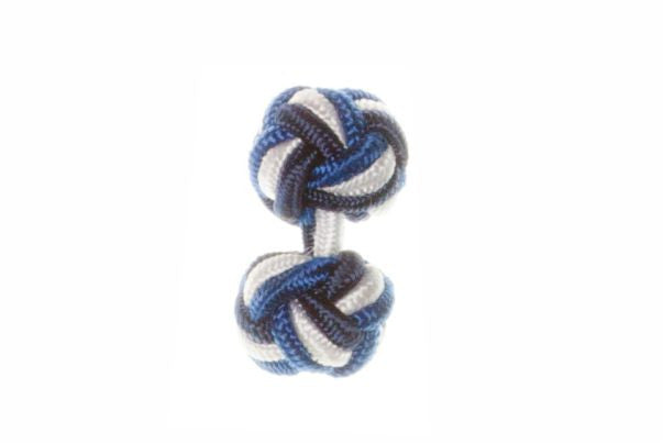 Navy Blue & White & Royal Blue Cuffknots Silk Knot Cufflinks - by Elizabeth Parker England