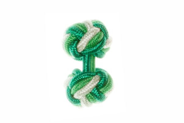 Green & Emerald Green & Light Green Cuffknots Silk Knot Cufflinks - by Elizabeth Parker England