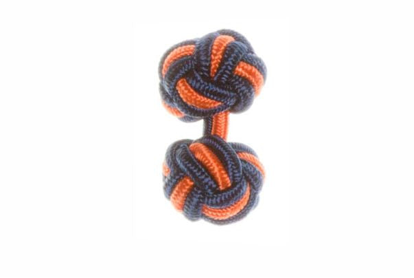 Navy Blue & Tango Orange Cuffknots Silk Knot Cufflinks - by Elizabeth Parker England