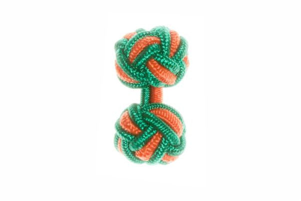 Green & Tango Orange Cuffknots Silk Knot Cufflinks - by Elizabeth Parker England