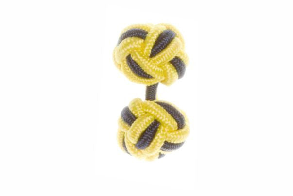 Canary Yellow & Navy Blue Cuffknots Silk Knot Cufflinks - by Elizabeth Parker England