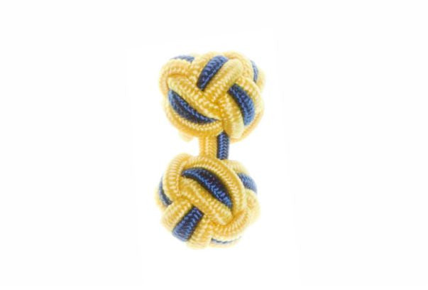 Canary Yellow & Royal Blue Cuffknots Knot Cufflinks - by Elizabeth Parker England