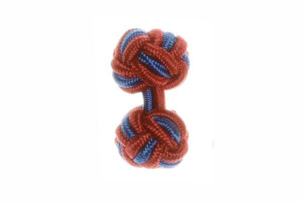 Claret Deep Red & Royal Blue Cuffknots Silk Knot Cufflinks - by Elizabeth Parker England