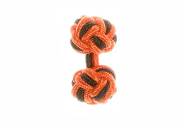 Tango Orange & Black Cuffknots Silk Knot Cufflinks - by Elizabeth Parker England