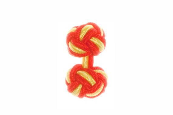 Red & Canary Yellow Cuffknots Silk Knot Cufflinks - by Elizabeth Parker England