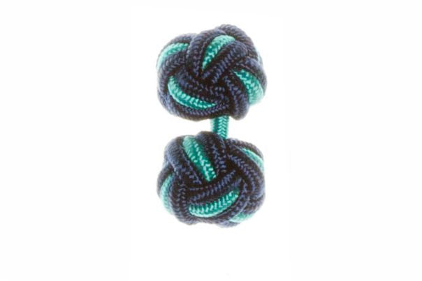 Navy Blue & Turquoise Blue Cuffknots Knot Cufflinks - by Elizabeth Parker England