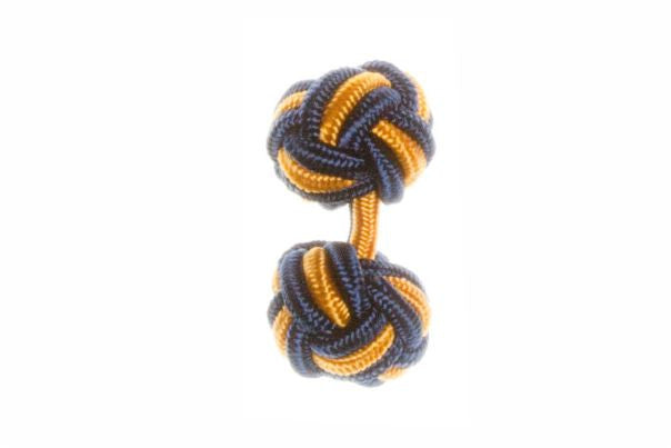 Navy Blue & Gold Cuffknots Knot Cufflinks - by Elizabeth Parker England