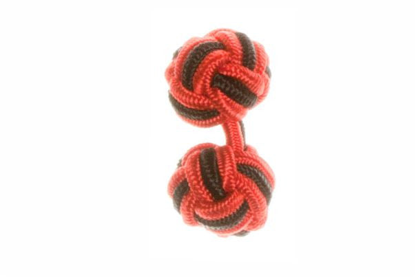 Red & Black Cuffknots Silk Knot Cufflinks - by Elizabeth Parker England