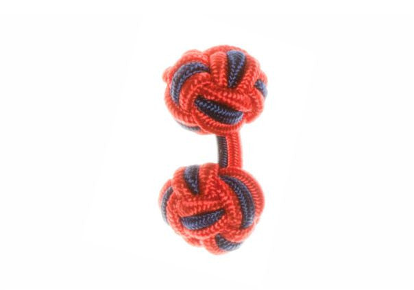 Red & Navy Blue Cuffknots Silk Knot Cufflinks - by Elizabeth Parker England