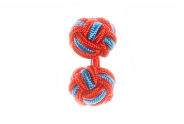 Red & Blue Cuffknots Silk Knot Cufflinks - by Elizabeth Parker England