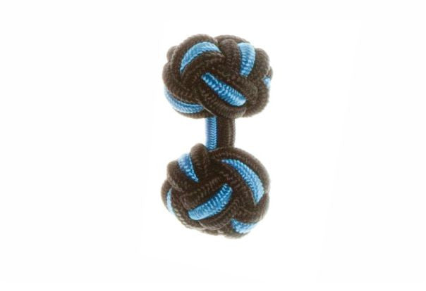 Black & Electric Blue Cuffknots Knot Cufflinks - by Elizabeth Parker England