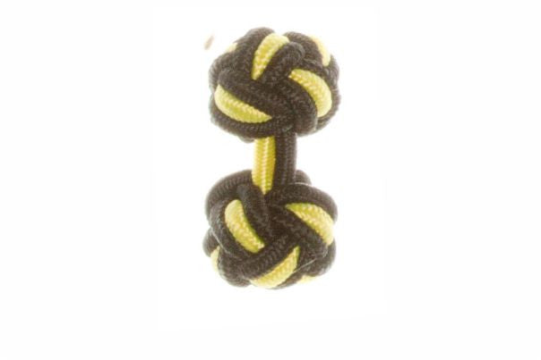 Black & Canary Yellow Cuffknots Knot Cufflinks - by Elizabeth Parker England