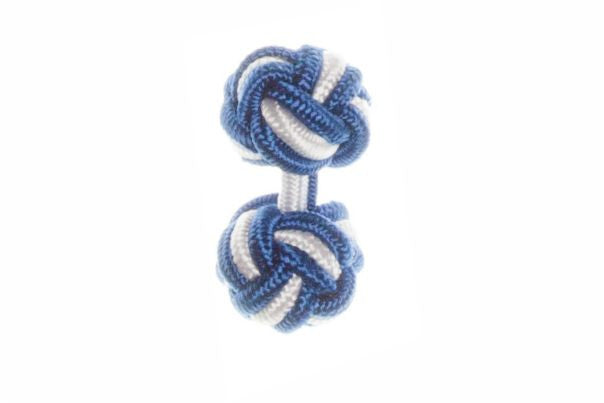 Royal Blue & White Cuffknots Knot Cufflinks - by Elizabeth Parker England