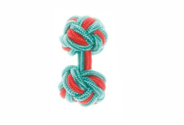 Turquoise Blue & Red Cuffknots Silk Knot Cufflinks - by Elizabeth Parker England