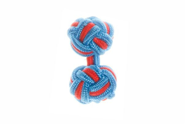 Blue & Red Cuffknots Silk Knot Cufflinks - by Elizabeth Parker England
