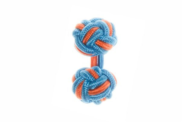 Blue & Tango Orange Cuffknots Silk Knot Cufflinks - by Elizabeth Parker England