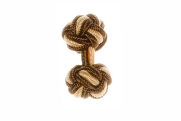 Brown & Yellow Cuffknots Silk Knot Cufflinks - by Elizabeth Parker England