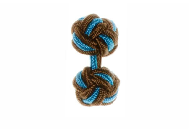 Brown & Blue Cuffknots Silk Knot Cufflinks - by Elizabeth Parker England