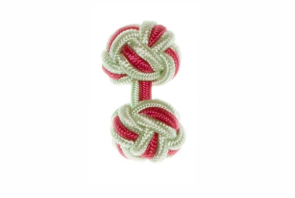 Light Green & Pink Cuffknots Silk Knot Cufflinks - by Elizabeth Parker England